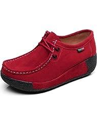Shenn Mujer Formal Plataforma Oculto Tacón Cuña Gamuza Zapatillas De Moda Zapatos