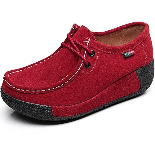 Shenn Femme Formel Plateforme Caché Talon Coin Suède Baskets De Mode Chaussures Rouge