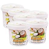 LoveDiet Coconut Oil, Kokosfett, Kokosöl 6erPack(6x1000ml)-neutraler Geruch und Geschmack+Gratis Carob Pulver 250g