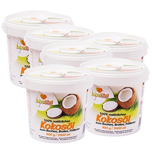 LoveDiet Coconut Oil, Kokosfett, Kokosöl 6erPack(6x1000ml)-neutraler Geruch und Geschmack+Gratis Carob Pulver 250g -