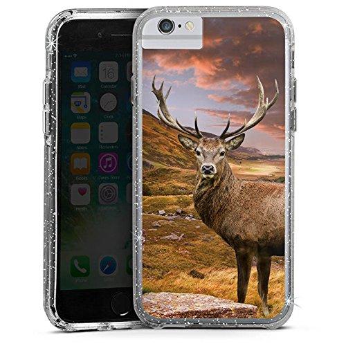 Apple iPhone X Bumper Hülle Bumper Case Glitzer Hülle Hirsch Deer Landschaft Bumper Case Glitzer silber