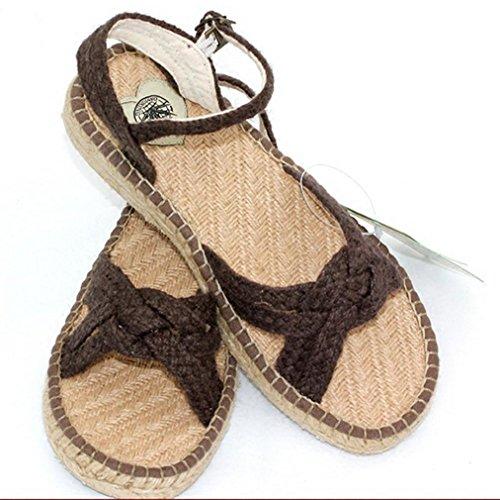 DM&Y 2017 piana dei sandali della madre scarpe di canapa tessuti a mano i sandali della signora traspirante Dark Brown