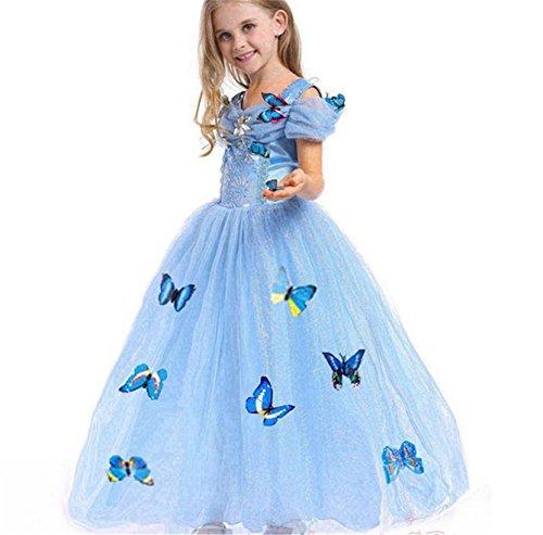 Kosplay Mädchen Prinzessin Kostüm Eiskönigin Kleid für Mädchen Schmetterling Karneval Verkleidung Party Cosplay Faschingskostüm Festkleid Weinachten Halloween Fest Kleid, Farbe: Style 1, Gr. 130