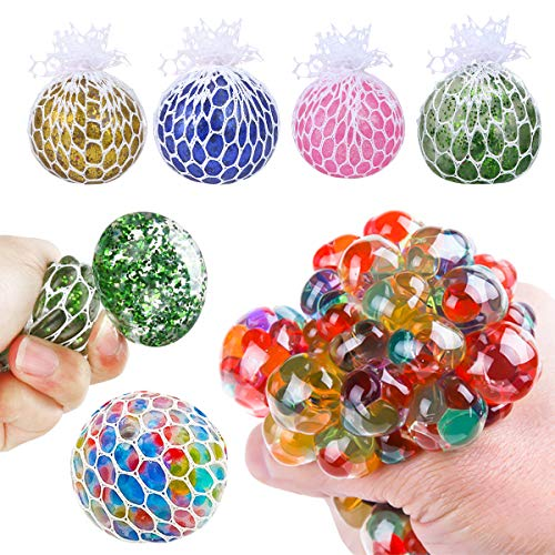 Slime Stress Ball for Kids, 5 Packs DIY Stress Ball Toys with Net, Slime Beads Kit Hand Therapy Gel Squeeze Ball Squishy Balls Mesh with Water Beads, Toys Gift Set for Adults Man, Squishy, Relief