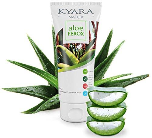 ALOE FEROX regenerierendes Hautgel mit Kamille & Rosenöl - 100ml fettfreies Gel aus wilder Aloe Vera | After Sun + Feuchtigkeitspflege für trockene, strapazierte Haut | Sonnenbrand, - Gesichter Bekannte Lotion
