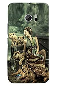 Omnam Girls Sitting With Tigers Printed Back Cover Case For HTC10