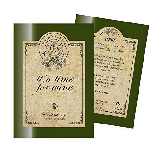 Einladungskarten Geburtstag als Weinetikett gestalten | 40 Stück | Einladungen Geburtstag | Lustige Geburtstagseinladungen | Witzige Einladungskarte | Karte Einladung | Inkl. Druck Ihrer Texte