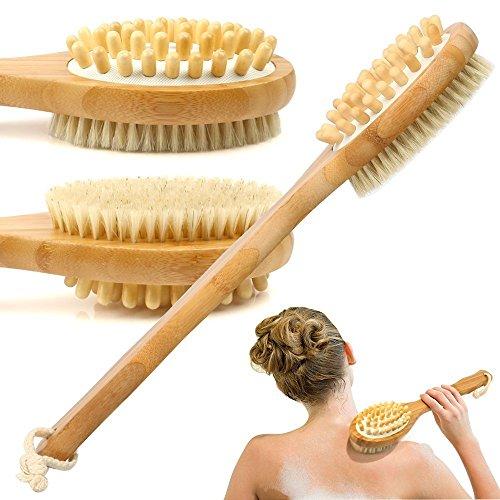 Bambus-Bad-Bürste für rückseitige Wäscher-weiche natürliche Borsten-Rückseiten-Bürste mit langem Handgriff für Exfoliating Haut u. Hölzerne Korne für Massag (Kommerzielle Wäscher)
