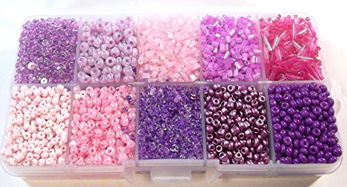 Rocailles Perlen 2mm 3mm 4mm 6mm Lila Rosa Set Silbereinzug Matt in Box 200g AM4