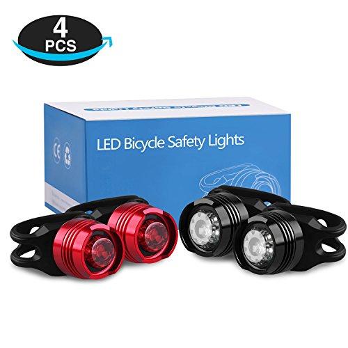 LED Fahrrad Rücklicht, LED Fahrradlicht Fahrradbeleuchtung Set Batterie Wasserdicht Kinderwagen Fahrradlampe/Sicherheitslicht für Hunde, Camping, Helme, Warnlicht Kinder - 4 Stück ( 2 rotes Licht + 2 weißes Licht )