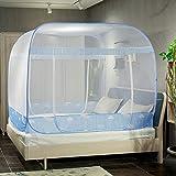 BOIJKLK Mongolischen Moskitonetz DREI Türen mit Reißverschluss Pop-up-Moskitonetz für Camping Babybett tragbare Bett Zelt Netze Erwachsene,Blue,1.2 * 2.0m