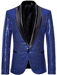 Amoyl Herren Shiny Pailletten Anzug Stilvolle Solide Schöne Jacke Blazer  Outwear Anzugjacke für Nachtklub, Hochzeit 19affc981c