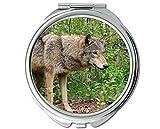 Yanteng Spiegel, Schminkspiegel, Animal Wolf Warmer Taschenspiegel, 1 X 2X Vergrößerung