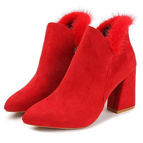 HSXZ Scarpe donna Nabuck Pelle PU Comfort estivo Bootie stivali Chunky tallone punta Babbucce/stivaletti di abbigliamento casual Rosso Nero Beige Beige