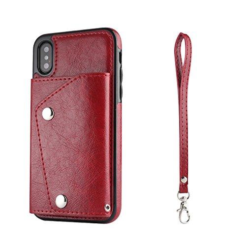 Artfeel Flip Brieftasche Hülle für iPhone XS Max mit Kartenfächer,Multifunktions Leder Handyhülle mit Ständer Tasche und Abnehmbar Handschlaufe Stoßfeste Schutzhülle,Rot -