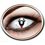 Lively Moments WEIHNACHTS - Kontaktlinsen weiß mit Rentier schwarz, Nase in rot und Merry Christmas