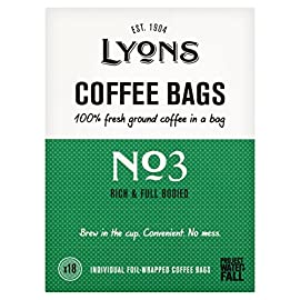 Lyons Number 3 Rich and Full Bodied Coffee (18 Coffee Bags, 125g)