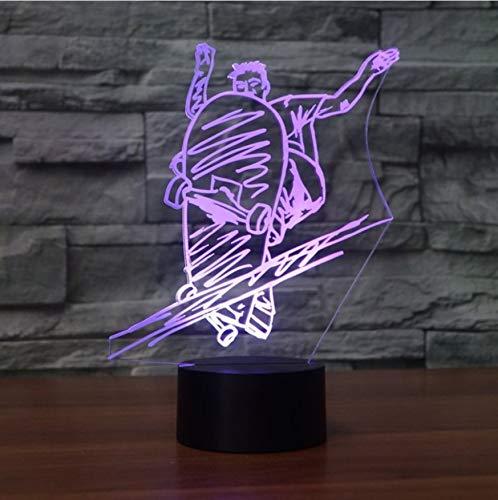 Nachtlichter Für Kinder 7 Farben 3D Led Mode Slide Plate Molding Tischlampe Junge Nacht Straßenlaterne Kunst Skateboard Nachtlicht Leuchte Decor