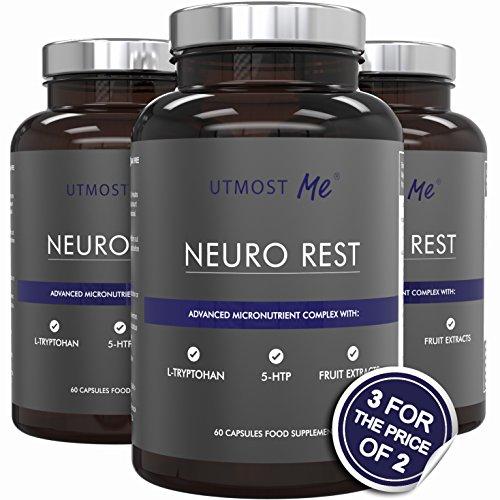 5-HTP, L-triptofano, L-taurina, camomilla, biotina, magnesio e estratti di frutta | Neuro Rest - Integratore naturale contro insonnia ed ansia | Evita sonniferi, sedativi e farmaci | Miscela sinergica testata senza effetti collaterali dovuti a troppo 5HTP | 100% soddisfatti o rimborsati (3 x Neuro Rest (fornitura di 90 giorni))