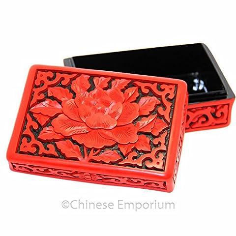 Luxe Etui à cartes de visite/sculpté à la main sur laque Rouge/Pivoine Fleur