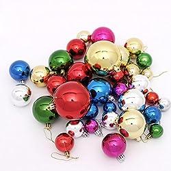 Sunnymi 36pcs Mischen 3~8cm Weihnachtsbaum Dekoration Ball Weihnachten Hängende Weihnachtskugeln (3~8cm, Mehrfarbig)