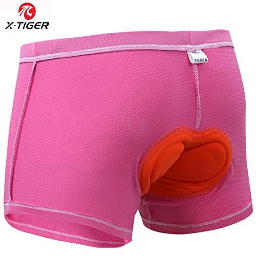 X-TIGER Mujer Ropa Interior de Bicicleta con 3D Gel Acolchado MTB Ciclismo Pantalones Cortos,Color Rosa,XL