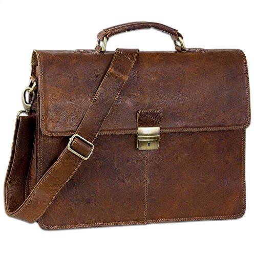 STILORD Vintage Aktentasche Herren Büro Business Schultertasche Laptoptasche mit Schloss groß echtes Rinds-Leder braun (Aktentasche Rindsleder)