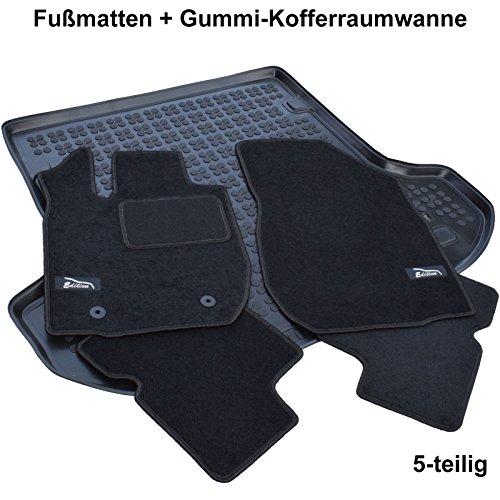 AME Set - Auto-Fußmatten Velours mit schwarzer Kettelung, Edition Logo und eingearbeiteten Trittschutz inkl. runde Befestigungen + Auto-Gummiwanne; Schutzmatte für den Laderaum 3887BKL+231374KW
