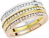 Amor Damen-Ringset tricolor 925 Sterling Silber teilvergoldet Zirkonia weiß 484565