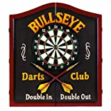 """RAM Gameroom Products Wooden Dartboard Cabinet, """"Bullseye Darts Club - Double In, Double Out"""""""
