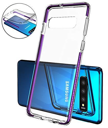 Samsung Galaxy S10 Hülle, Handyhülle für Samsung Galaxy S10 Handy Schale Extra Dünn Cover Slim Schutzhülle Transparent TPU Silikon Case Durchsichtig Stoßfest Anti-Fingerprint Anti-Scratch - lila