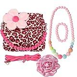 Kilofly, borsetta in peluche per bambini + molletta per capelli con grande rosa + collana + bracciale, multicolore