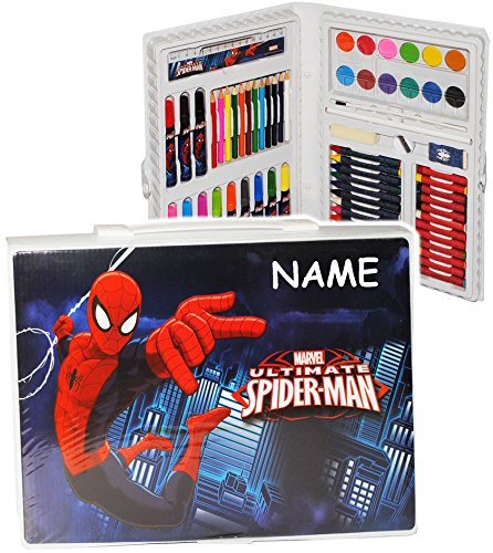 68 tlg. Set: XXL Stifte-Koffer - ' Spider-Man ' - incl. Name - Malkoffer mit Stiften + Öl...