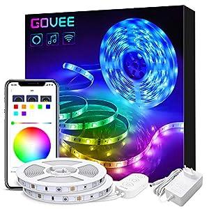 Smart Alexa LED Streifen, Govee 2 x 5M WiFi RGB LED Strip Beleuchtung, APP-Steuerung Musik LED Band Lichterkette für Haus, Küche, TV, kompatibel mit Alexa, Google Assistant [Energieklasse A+]