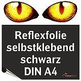 Reflexfolie, schwarz reflektierend und selbstklebend, DIN A4 von Interfoil®