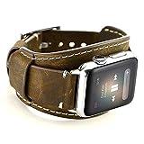 Leotop Compatible avec Apple Watch Bracelet 44mm 42mm, Bande en Cuir Véritable Strap avec Boucle en Acier Inoxydable Hommes Femmes Compatible iWatch Series 5/4/3/2/1 (44 / 42mm, Café)