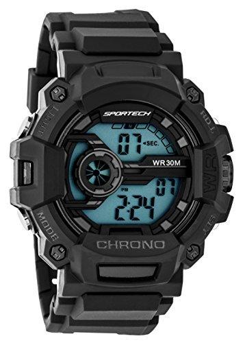 Sportech Men's/Kids' | Classic Black Digital Water Resistant Sport Watch | SP12205 (Designer 3 Light Classics)