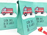 8 STÜCK Mitgebseltüten Kindergeburtstag Feuerwehr Motiv
