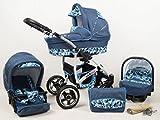 +++ SALE Raff Largo System Kinderwagen Babywagen Buggy, Autositz Kinderwagen System 3 in1 + Wickeltasche + Regenschutz +Insektenschutz (Set 3w1: Wanne + Sportsitz + Babyschale, jeans)