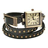 DISTRESSED Vintage Leder Armbanduhr Damenuhr verschiedene Designs Nieten dunkelolive eckig