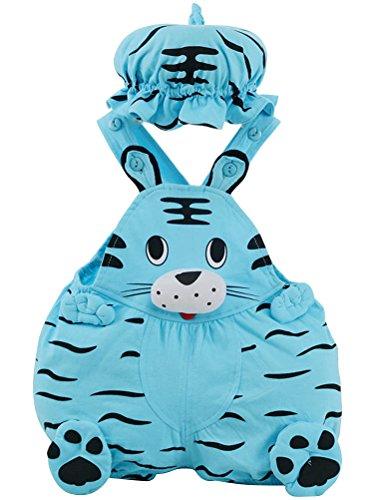 ARAUS Baby Kostüm Set Ärmellose Strampler Tier- Obstformen mit Hut Outfit Overrall für Kinder 0-12 Monate (Kind Blau Ara Kostüm)