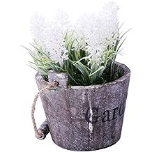 URAQT Florero de Madera + Artificial Flores de Lavanda, Barril de la Vendimia Diseño Florero Planta Plantador, Decoración Iniciar / Interior / Exterior / de la Boda / Jardín ,Color de Blanca