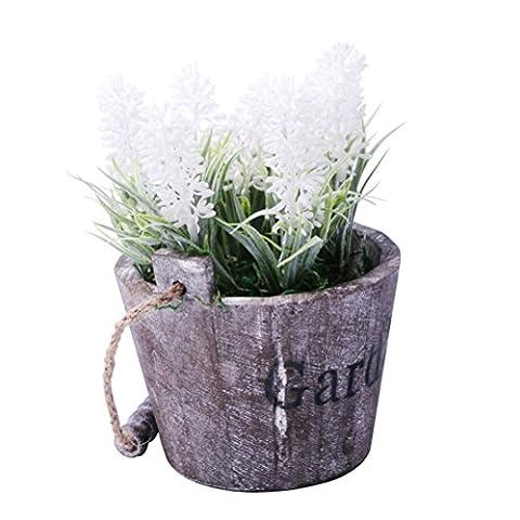 URAQT Retro Artificial Lavender, Flower / Plant In Wood Pot, Decor Bonsai for Office, Home Decorations, Desks and Tables