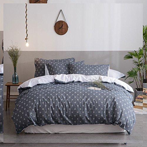 Merryfeel 100% Baumwolle Chambray Garn gefärbt Bettwäsche-Set - 200x200+2x80x80cm (Grau Chambray Bettwäsche)