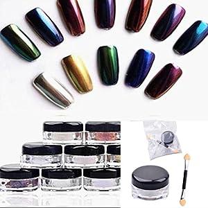 BaojunHT 12 Colors Nail Glitter Powder Shinning Nail Mirror Powder Makeup Art DIY Chrome Pigment With Sponge Stick