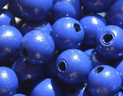 Preisvergleich Produktbild 10 Stück Holzperlen Rundperlen Perlen 10 mm, geeignet zum Basteln für Schnullerketten, Greiflinge u.v.m. (Dunkelblau)