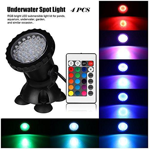 Petacc 4Pcs LED Unterwasserbeleuchtung RGB Licht Unterwasser Wasserdichte für Aquarium Teich Brunnen Garten mit Fernbedienung