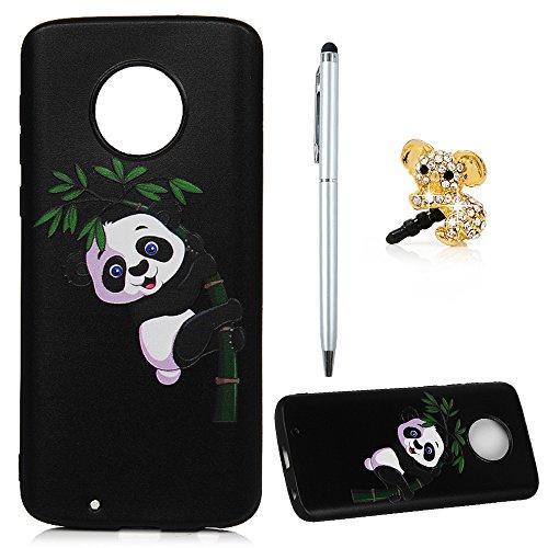 Edauto Moto G6 Hülle Silikon Motorola Moto G6 Case Premium Reliet Gemalt Muster TPU Silikon Tasche Schutzhülle Case Cover Handytasche Soft Flex Silikon Schlank Bumper Handyhülle Giant Panda