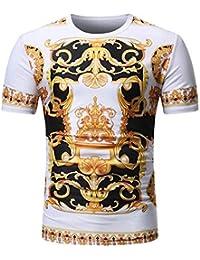 FIRSS Herren Kurzarmshirt,Drucken T-Shirt Sommer Lässige Pullover Kurzarm  Vintage Sweatshirt Casual Sport 544294d918