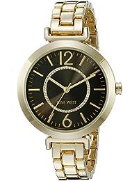 Nine West Mujer NW/1768bkgb glitter-accented Gold-tone Reloj de pulsera